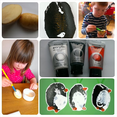 making potato print penguins
