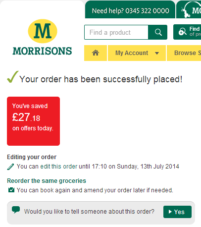 Placing an order with Morrisons Delivery