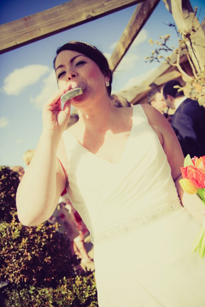 bride with hip flask