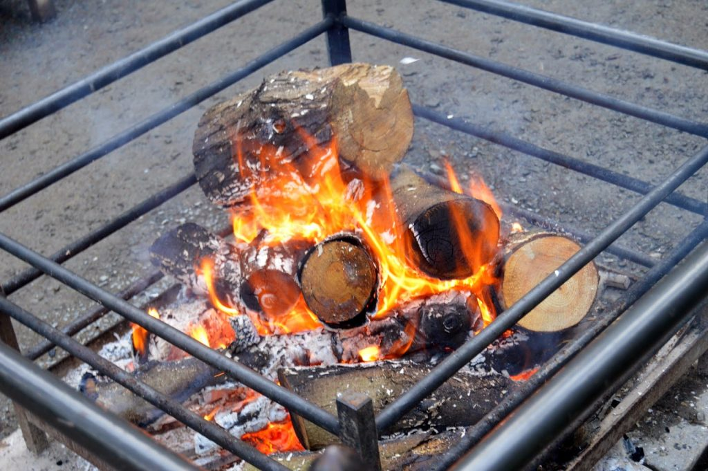 Bodnant Garden open fire