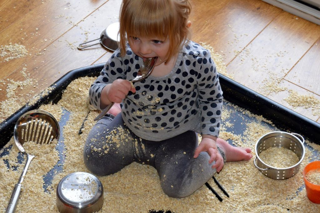pretending to eat Tuff Spot oats