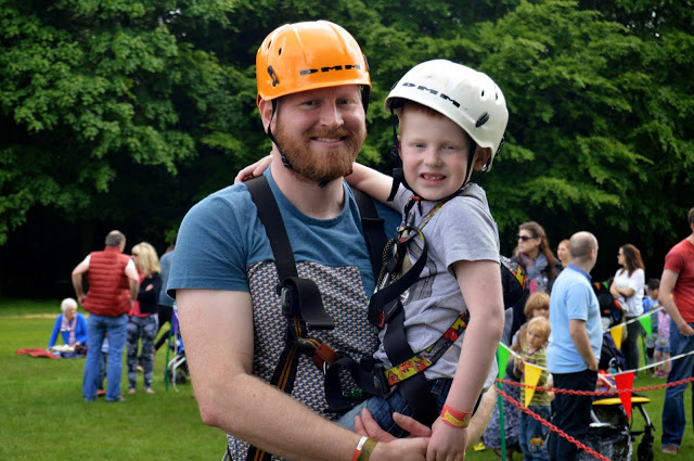 Ready for the zip wire at Geronimo Festival