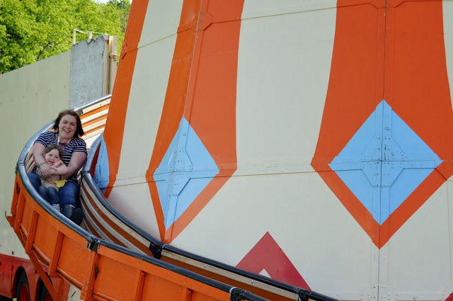 Mummy & Chloe on the helter skelter at Geronimo Festival