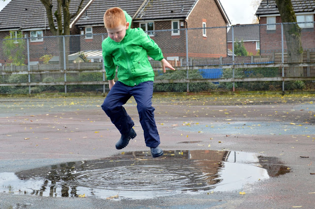 puddle jumping in Muddy Puddles Puddlefleece Trousers