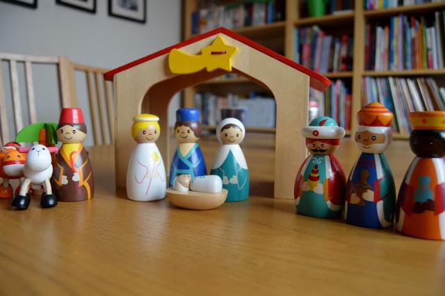 ASDA wooden nativity set displayed