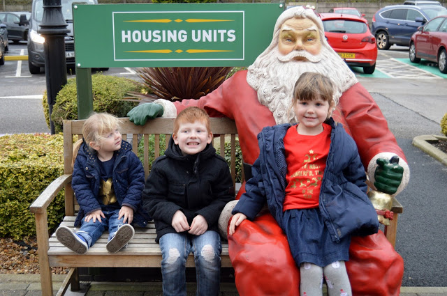 Father Christmas bench at Housing Units