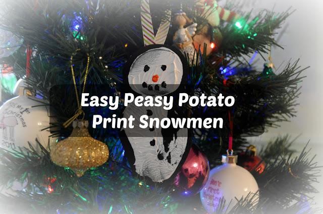 potato print snowmen