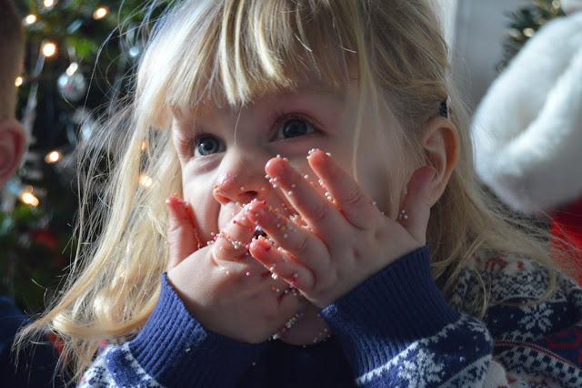 Toddler eating hundreds and thousands