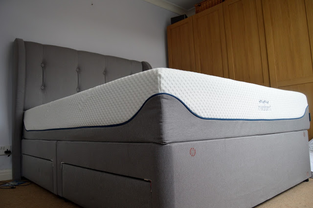 grey Silentnight bed with headboard