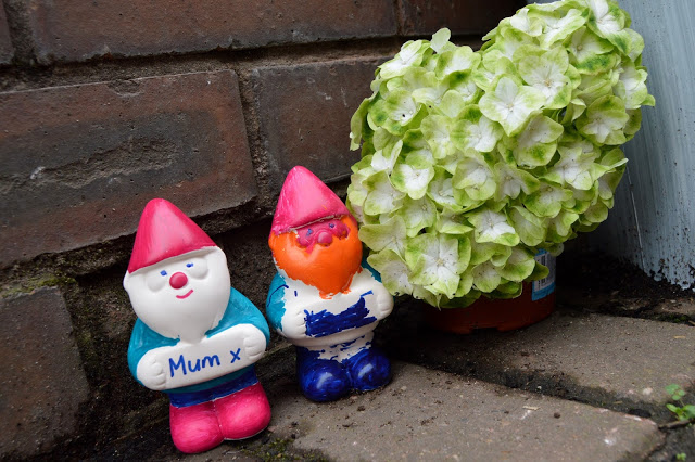 Gnorris the Gnome from Cath Kidston in our garden