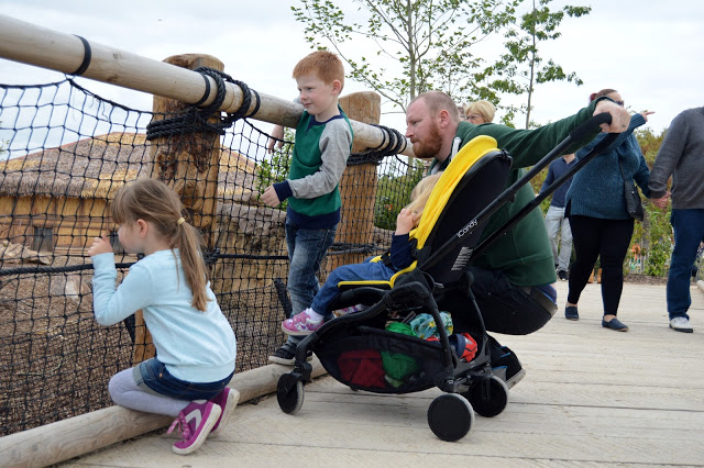 toddler in icandy raspberry pushchair at Chester Zoo