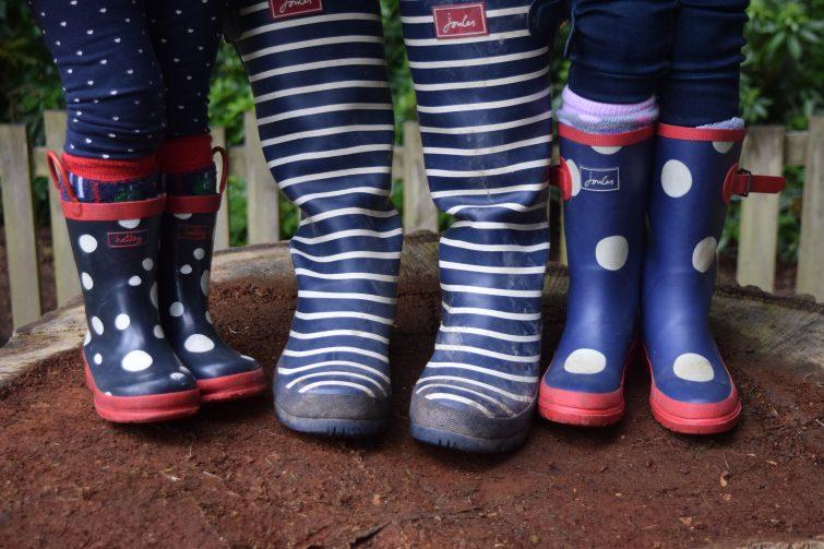 Navy Wellies - Joules stripe wellies, Joules kid's wellies