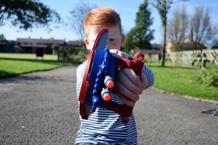 Blasting Captain America shield