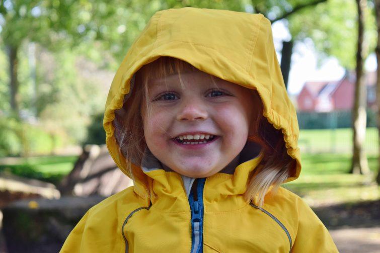 Yellow hooded coat