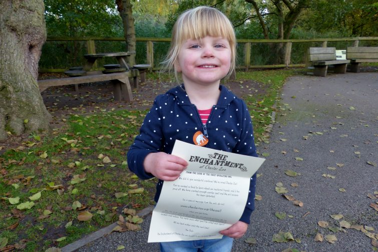 Amy shows her letter from The Enchantment of Chester Zoo