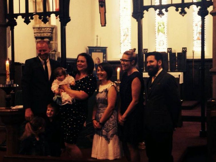 Amy's christening - with godparent squad