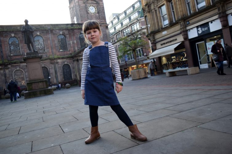 Blue Denim Pinafore Dress from Milk & Biscuits (1)