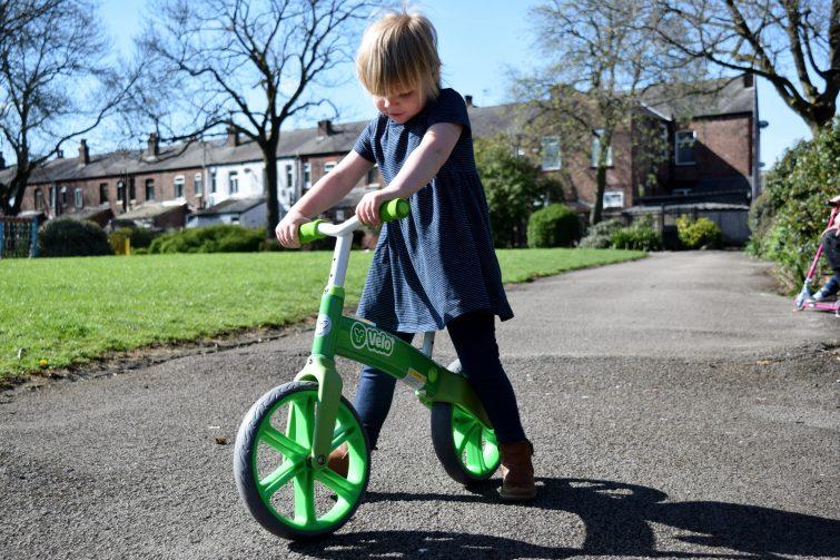 Three year old on Y Velo Balance Bike