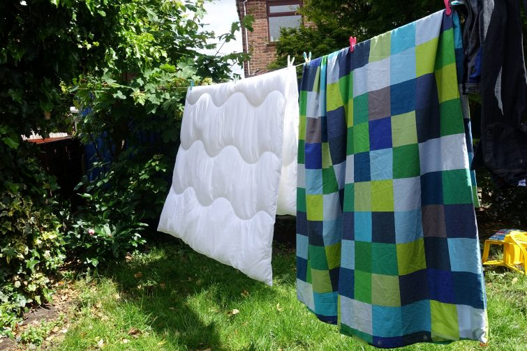 machine washable duvet on the washing line