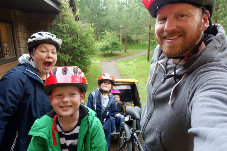 Cycling together as a family at Center Parcs, Whinfell Forest