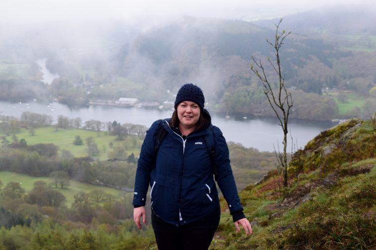 Climbing Gummer's How in the fog