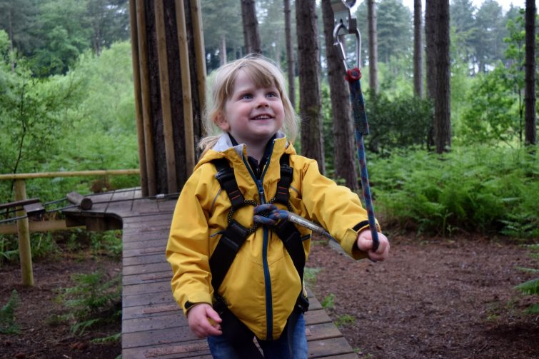 Testing the equipment at Go Ape with Pri Allergy