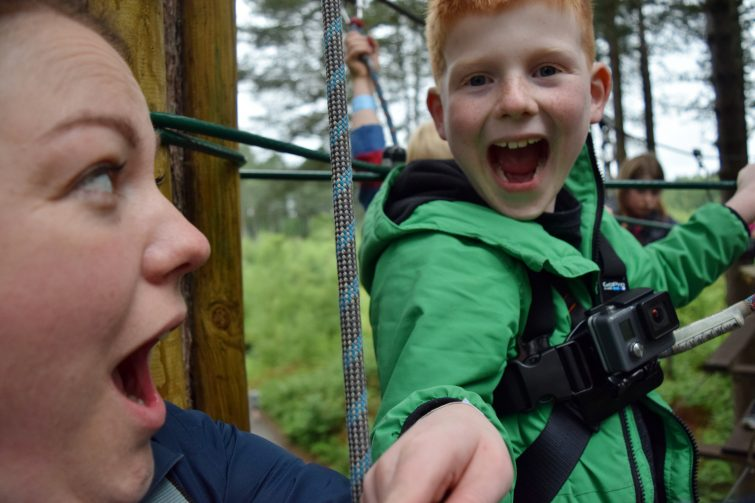 Excited faces at Go Ape, Delamere