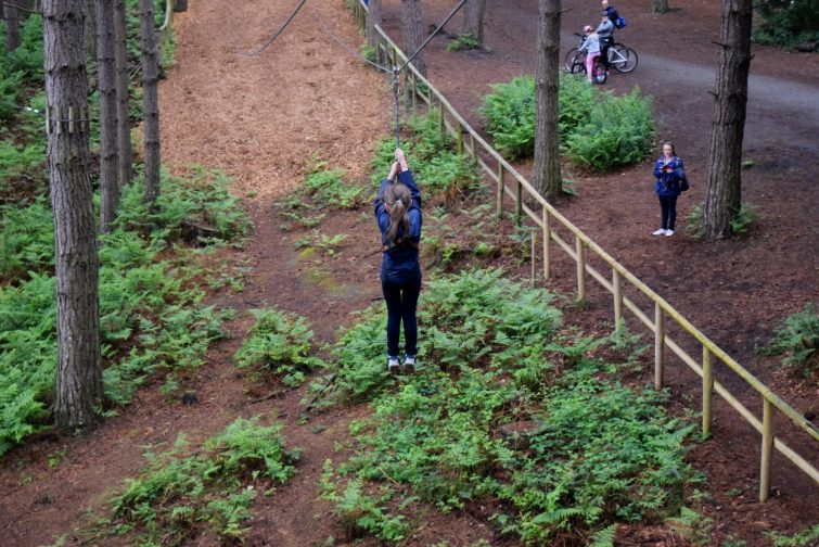 Chloe braving the zip wire at Go Ape