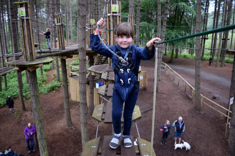 Chloe conquers the more challenging course at Go Ape, Delamere Forest