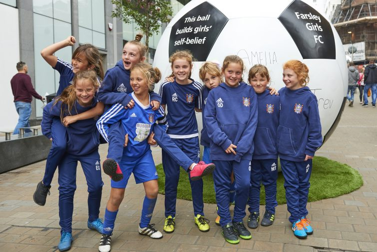 To mark the launch of the 2017 Aviva Community Fund, on Saturday, local community group, Farsley Girls FC, competed against one another in a keepy-uppy challenge on Albion Street in Leeds. The group, which benefitted from funding in 2016, put on the event alongside a large-scale football installation to demonstrate how small things like a football, can with the right perspective, make a big difference to local communities.