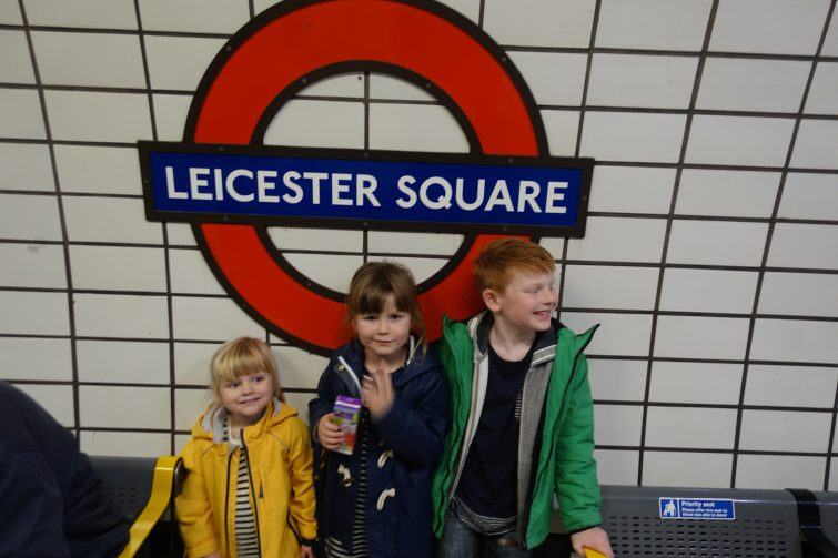 Travelling on the underground with three children