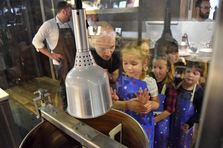 Hotel Chocolat Children's Chocolate Workshops - conch machine