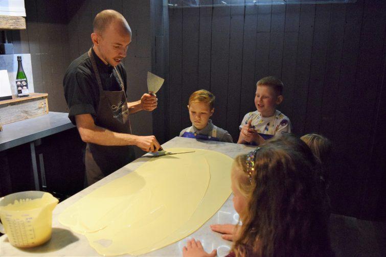 Hotel Chocolat Children's Chocolate Workshops - tempering chocolate