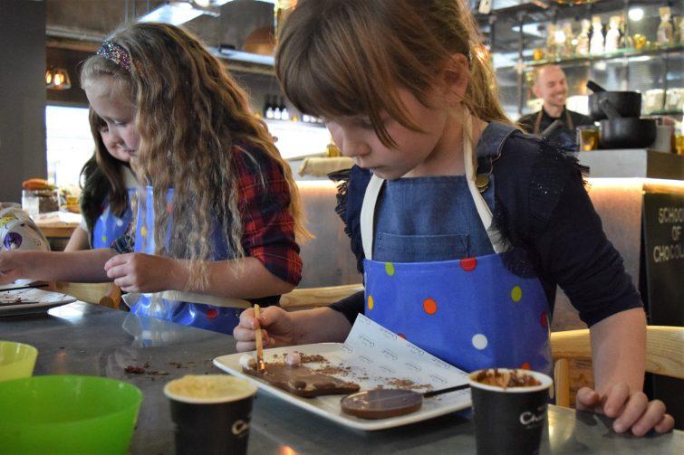 Hotel Chocolat Children's Chocolate Workshops - decorating chocolate