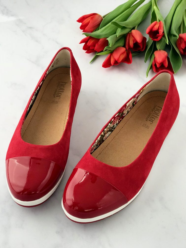 Red suede pumps with patent toe from Hotter