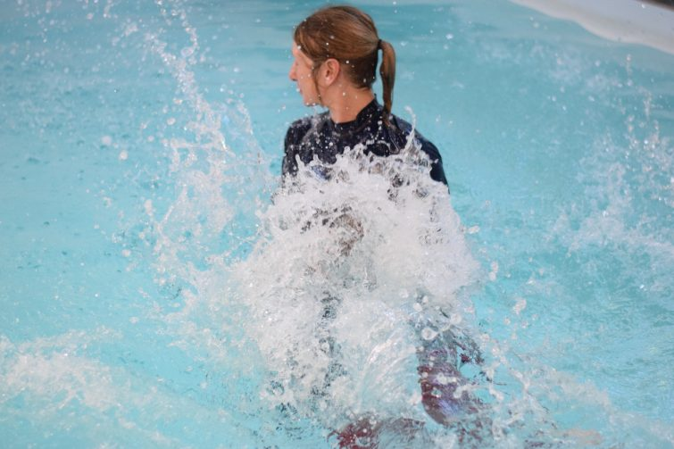Puddle Ducks Swim Academy Pyjama Week jumping in