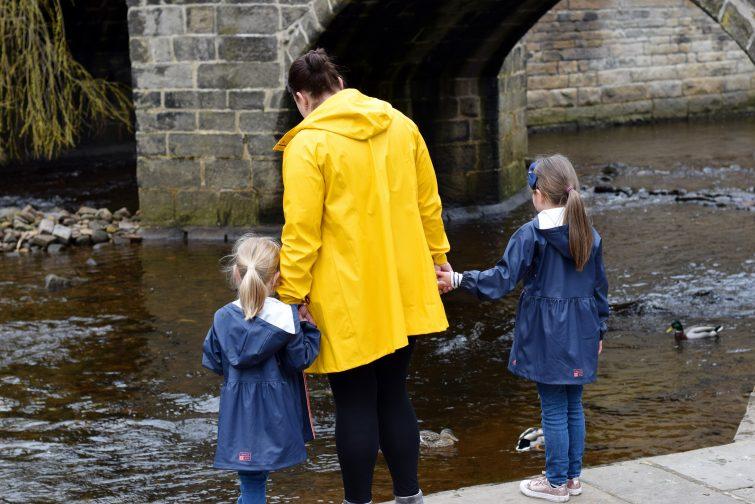 Mum and daughters in Hebden Bridge
