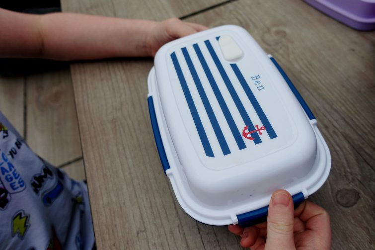 Limited edition nautical print personalised lunch box