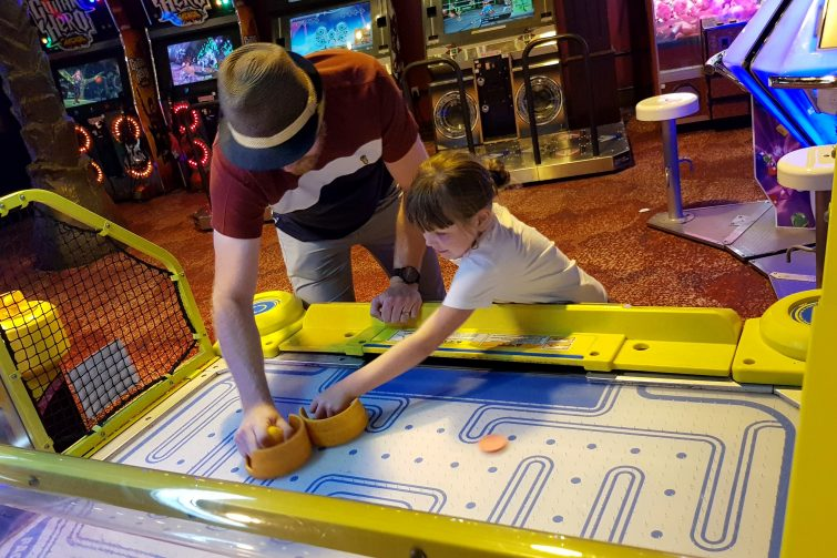 Coral Island | We're going on an adventure - Father and daughter playing air hockey