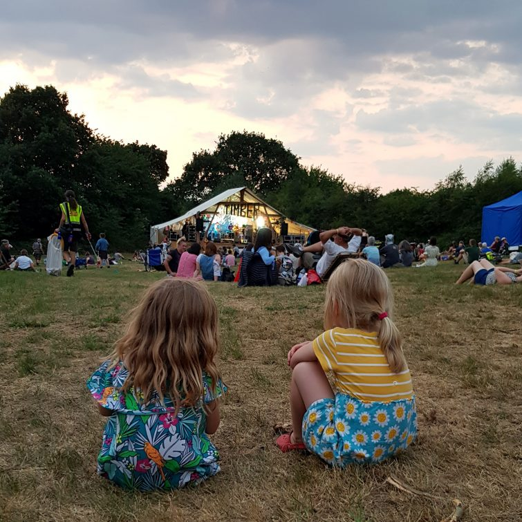 The Nightingale Stage, Timber Festival at sunset- family friendly festivals in the UK
