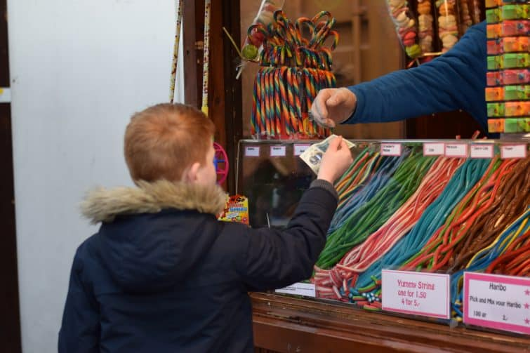 Buying sweets at Leeds Christmas Market