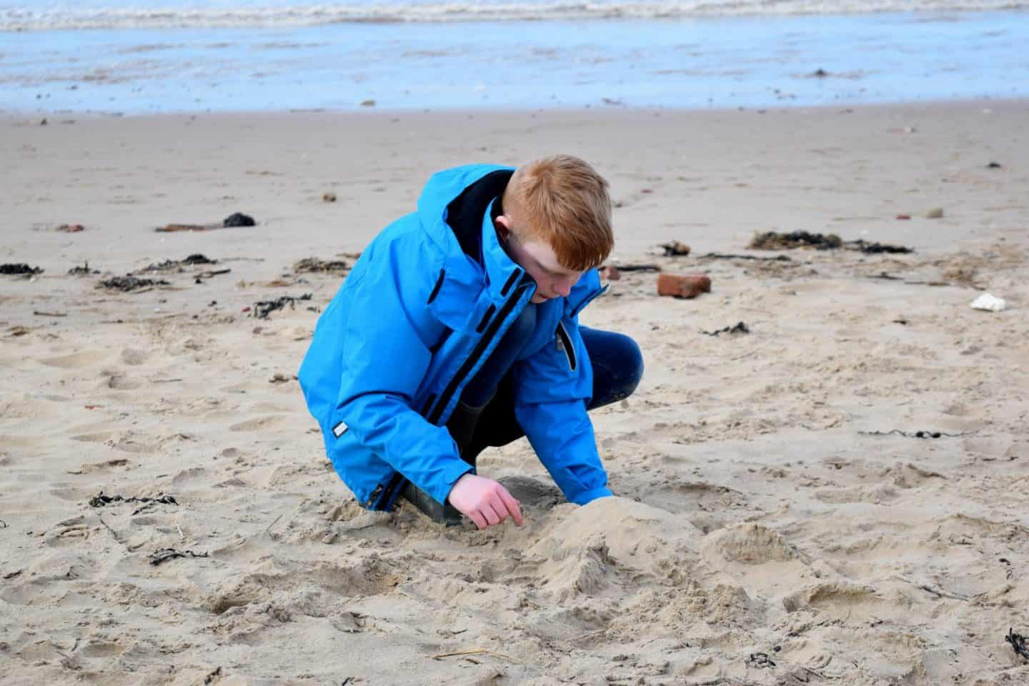 Making a sand sculpture at Formby