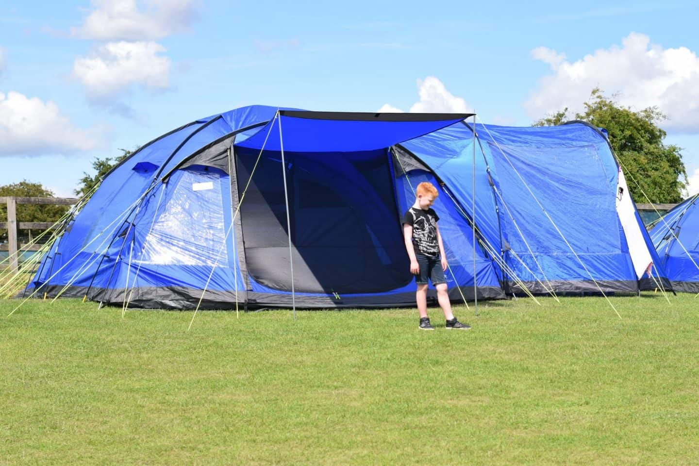 Large blue tent in the sunshine -camping / UK staycation (Eurohike Bowfell)