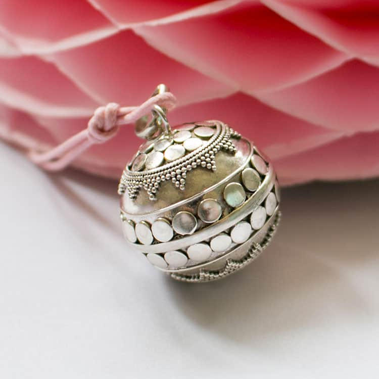 Silver pregnancy harmony ball necklace from Le Petit Bola