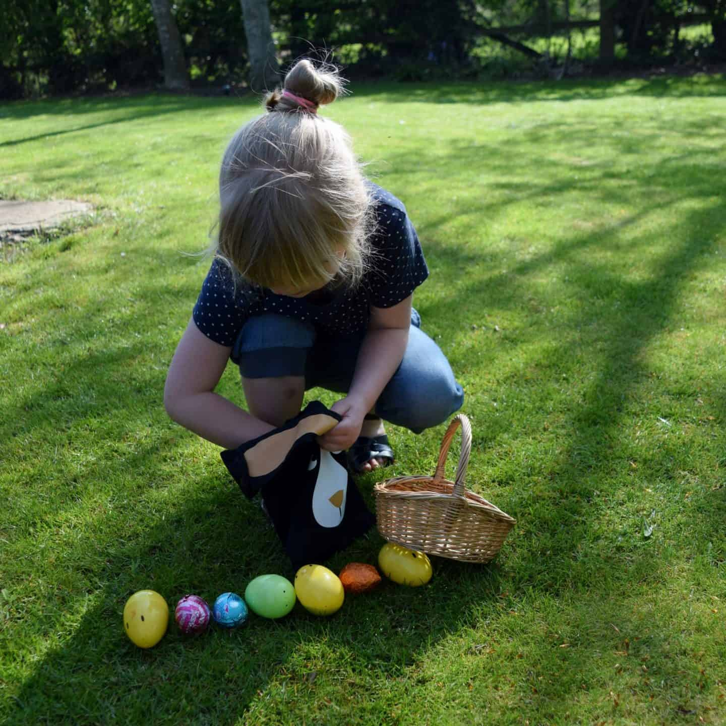 Easter egg hunt in Granny's garden