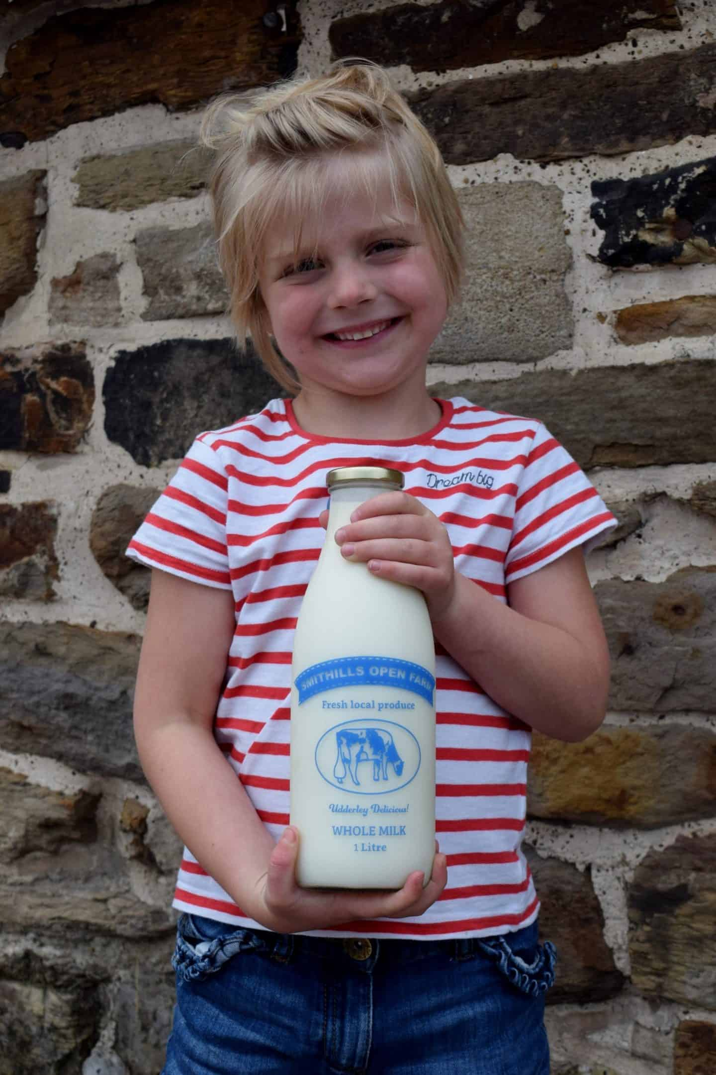 Smithills Farm milk in glass bottles
