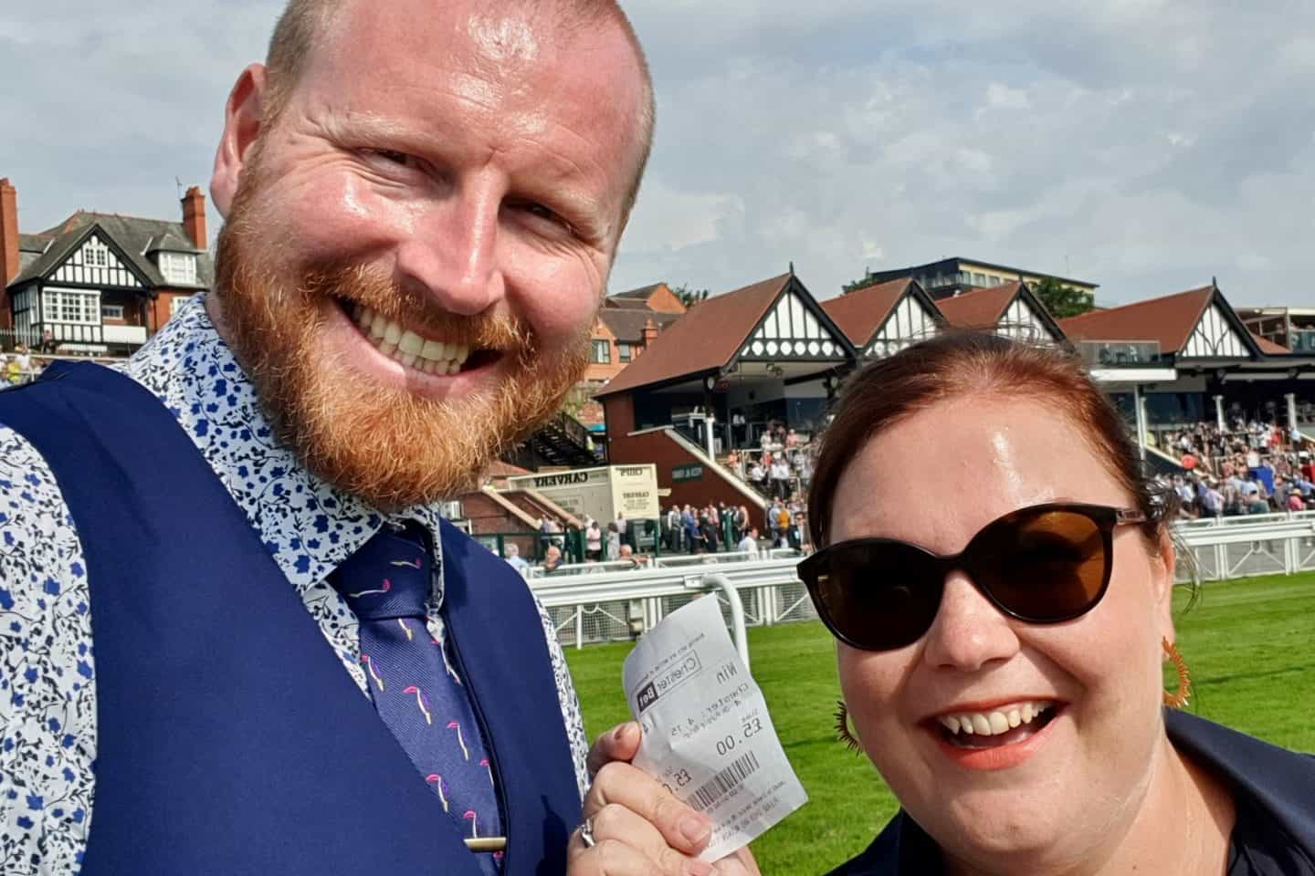 Husband and wife with winning ticket at Chester Races