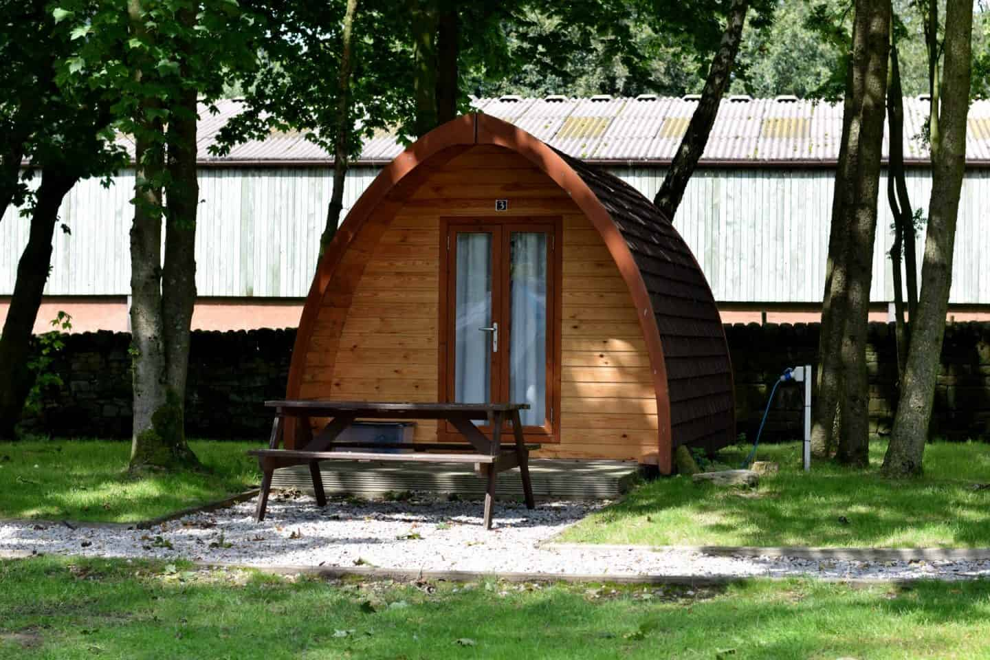 Camping pods at Crowden campsite