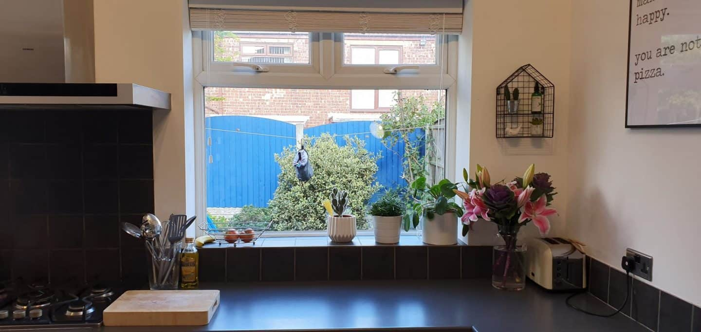 Slat blinds can be left down or raised to let more light in