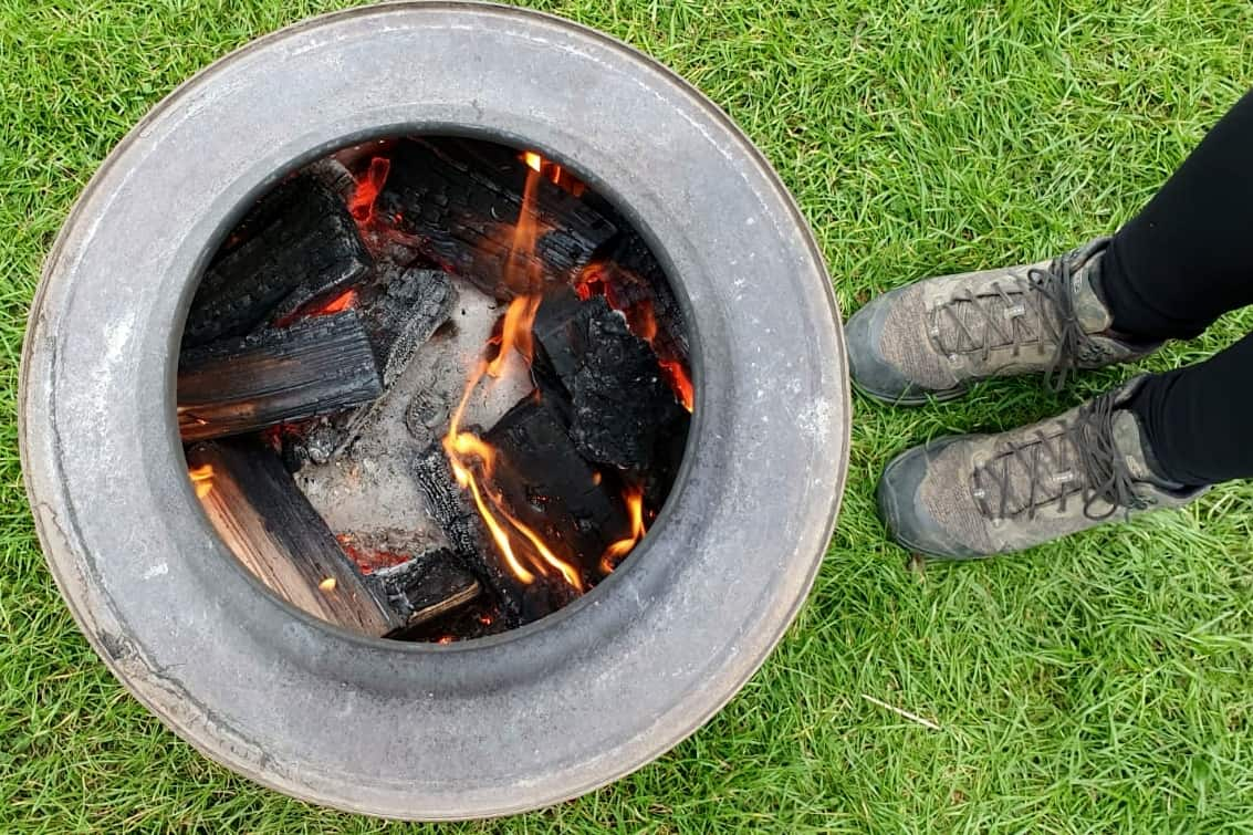 Fire pits are available to hire at Catgill campsite